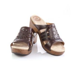Dansko Brown Leather Floral Platform Slide Sandals